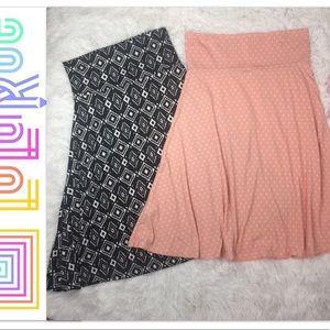 LULAROE Skirt 2 pc Lot XS / Med Geo Print Stretch